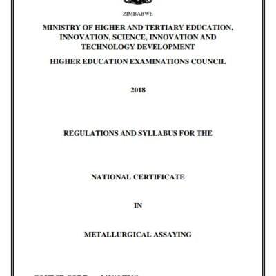 N.C. METALLURGICAL ASSAYING Syllabus pdf